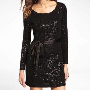 Express  long sleeve black  sequin dress
